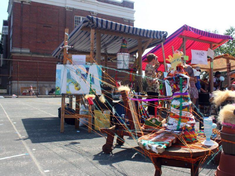 Toronto School of Art Pavilion and art making station at Card-yard 2013
