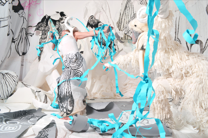 2. wandering creatures (performance in collaboration with a dancer, Rebecca A. Bobrovskis - video still, work in progress 2014-2015)